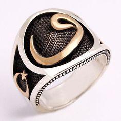 """Ay-yıldız ve """"vav"""" harfi işlemeli, 925 ayar, gümüş erkek yüzüğü"""