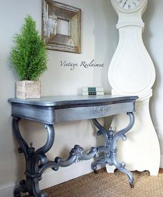 """Pretty custom tinted and layered variations of Modern Masters Oyster Metallic Paint help this piece shine! Beautiful project by Michele of Vintage Furniture Reclaimed who says, """"Loving the way Modern Masters Metallic Paint transformed this French antique desk. Beautiful coverage and sheen!"""""""