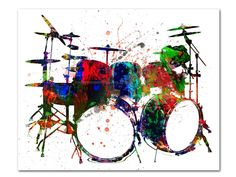 Receive a high-quality reproduction of our original drum set mixed media artwork. Various print and canvas options available. Mixed Media Artwork, Artwork Prints, Drums Artwork, Drummer Gifts, Girl Drummer, Drum Room, Dorm Art, Drum Music, Music Pictures