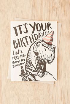 Slide View: 1: Hello! Lucky No Tomorrow Dino Birthday Card