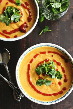 Spicy coconut carrot soup recipe // Rhubarbarians