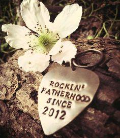 $18 Rockin Fatherhood Custom Guitar Pick Personalized my dad rocks Guitar Pick Fathers day gift Music Teacher Gift via Etsy