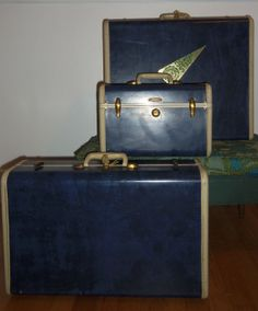 vintage samsonite blue and whith luggage by nottooshabbyvintage, $135.00
