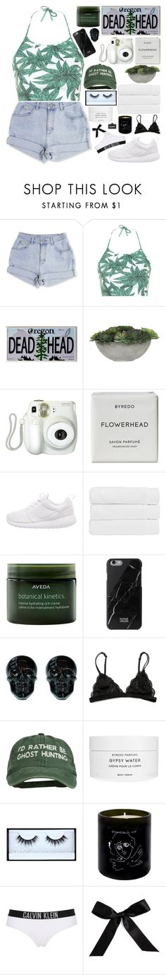 """""""where is the love?"""" by watercolor-sunsets ❤ liked on Polyvore featuring Motel, WALL, Lux-Art Silks, Branca, Byredo, NIKE, Christy, Aveda, Native Union and Huda Beauty"""