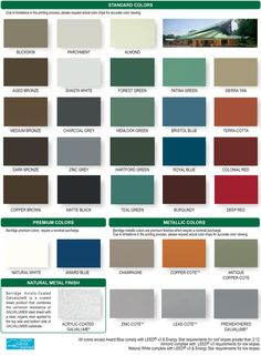 Metal roof, galvalume- roof color zinc grey or charcoal grey! Berridge-Cool-Roofing-Color-Chart