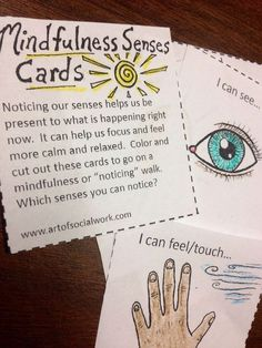 Printable mindfulness cue cards! Great for mindfulness walks and helping with concentration, focus, and relaxation by being present in the moment! Teaching Mindfulness, Mindfulness For Kids, Mindfulness Activities, Mindfulness Benefits, Mindfulness Therapy, Mindfulness Training, Mindfulness Practice, Relaxation Activities, Mindfulness Quotes