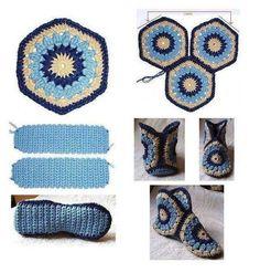 Delicadezas en crochet Gabriela: Pantuflas de cuadrados en crochet
