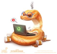 # Python Coder by Cryptid-Creations Daily Paint 1779 Cute Animal Drawings, Kawaii Drawings, Cute Drawings, Cute Creatures, Fantasy Creatures, Mon Zoo, Baby Animals, Cute Animals, Cute Reptiles