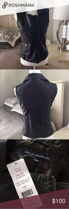 NWT French connection sz4 moto vest NWT French Connection sz 4 awesome moto vest -not leather but looks just like it and it is just as soft !! Perfect styling piece for fall or winter as you can dress it up or dress it down and really wear with anything!!  Gorgeous it is just too small for me😩 French Connection Jackets & Coats Vests
