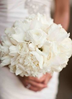 Im falling in love with these all white bouquets. Maybe with colorful ribbon? Modern White Wedding Bouquet - Modern Wedding Style Ideas and Inspiration Bridal Elegance - Erie, PA White Wedding Bouquets, Bride Bouquets, Bridesmaid Bouquet, Floral Wedding, Fall Wedding, Our Wedding, Dream Wedding, Bridesmaids, Bridal Flowers