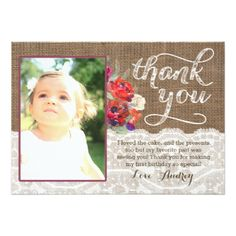 Christmas Birthday Thank You Card with Photo - baby birthday sweet gift idea special customize personalize