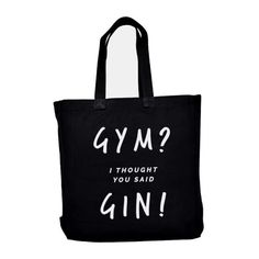 Ellie Ellie Gym Gin Tote Black (€23) ❤ liked on Polyvore featuring bags, handbags, tote bags, cotton handbags, tote bag purse, handbags totes, cotton purse and handbags tote bags