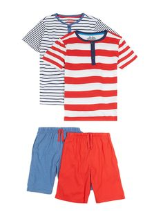 2 Pack Pure Cotton Stay Soft Short Pyjamas (6-16 Years)