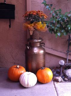 My old Milk Can spray painted bronze for Fall.