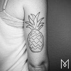 Single Line Pineapple Tattoo by Mo Ganji