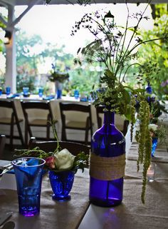 Will be using our cobalt glass collection at our wedding, love the thought of using wildflowers.