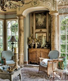 interior design, living rooms, french homes, column, living room designs