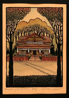 Kathleen West - Block Print - Bungalows Of The South II - Arts & Crafts