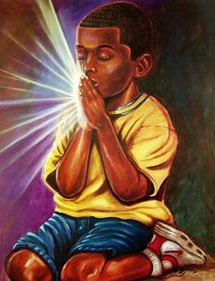 Fred Mathews' Thank God is an African-American work of art depicting a child knelt down, hands held together, and praying as light radiates from his hands. African American Artwork, African Art, American Artists, Black Art Pictures, Black Love Art, Black Artwork, Afro Art, Dope Art, Christian Art