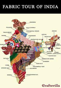 One for the handloom lovers. This map shows the astonishing diversity of textiles from India Indian Fabric, Indian Textiles, Pakistan Map, Pakistan News, Sambalpuri Saree, Handloom Saree, Lehenga, India Map, India India