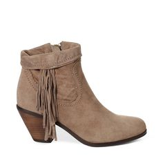 Give your look a Western-inspired twist with everyone�s favorite fringe bootie. The sturdy block heel make this pair ideal for all-day wear. Pair yours with jeans, bohemian-inspired dresses, denim cut-off shorts�and everything in between.Upper material: Leather/SuedeLining material: FabricHeel height: 2 in