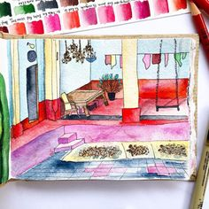 Another slice of my beautiful traditional house. I'm traveling to Bangalore today, saying goodbye is pretty hard. Watercolor Sketchbook, Sketchbook Pages, Watercolor Artwork, Watercolor Beginner, Urban Sketching, Traditional House, Traveling, Watercolours, Paper