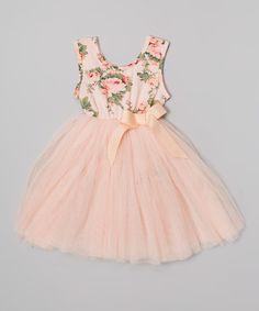 Look what I found on #zulily! Designer Kidz Peach Floral Tutu Dress - Infant, Toddler & Girls by Designer Kidz #zulilyfinds