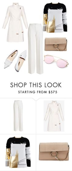 """""""White gold pink"""" by snazzyvicky ❤ liked on Polyvore featuring Agnona, Ted Baker, Oscar de la Renta and Chloé"""