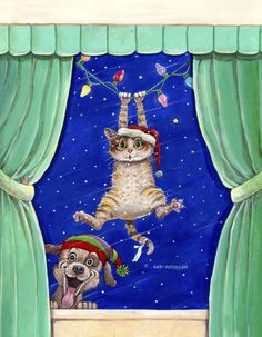 Cat artwork by Gary Patterson Christmas Puppy, Noel Christmas, Christmas Animals, Christmas Cats, Vintage Christmas, Xmas, Christmas Greeting Cards, Christmas Greetings, Holiday Cards