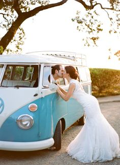 VW Bus bliss, photo by Josh Gruetzmacher http://ruffledblog.com/santa-rosa-winery-wedding #wedding #portrait