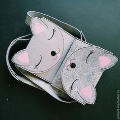 Купить Детская сумочка из фетра Кошечка - темно-серый, фетр, кошечки, котики, кошечка, вышивка