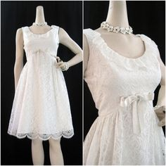 60s Dress Vintage MOD White Lace Wedding Cocktail by voguevintage, $85.00