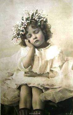 Vintage Postcard ~ Little Girl Sleeping