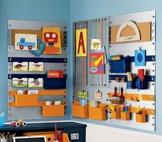 Kid's organizing board - mini one on frame collage wall in kitchen