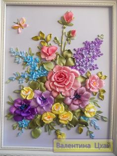 Silk Ribbon Embroidery, spring bouquet.