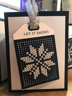 card with tag, MFT Cross stitch tag Die-namics snowflake cross stitch pattern, white on black Mini Cross Stitch, Cross Stitch Cards, Cross Stitching, Cross Stitch Embroidery, Cross Stitch Patterns, Christmas Gift Tags, Holiday Cards, Christmas Cards, Sherlock Cross Stitch
