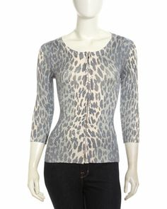 Zip-Front Animal-Print Cardigan, Cloudy Cat by Neiman Marcus at Neiman Marcus Last Call.