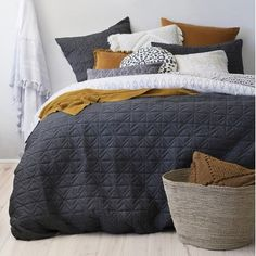 Bedroom Decor Ideas 32 Inspiring Bedding Sets For Perfect Bedroom Decorations - The bedding stores a Dream Bedroom, Home Bedroom, Bedroom Decor, Master Bedroom, Gray Bed Set, Bed Sets, Quilt Cover Sets, Bedroom Styles, Design