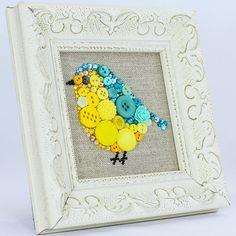 Framed Button Art  Baby Bird  Handmade by PaintedWithButtons
