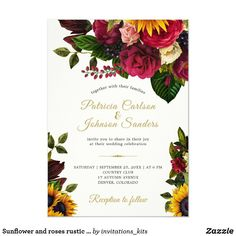 Sunflower and roses rustic fall monogram wedding invitation