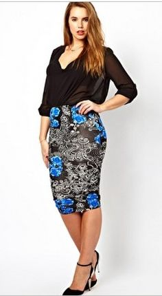 Floral Print Pencil Skirt by Asos Curve
