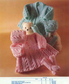 Knit Baby Matinee Coats Bonnet Socks Vintage door GrannyPatternStore