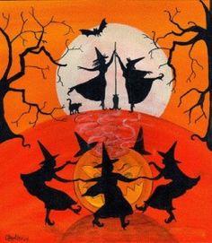 Elegant Halloween Witch Dancing Spell Folk Art Print by Cheryl Bartley Designs
