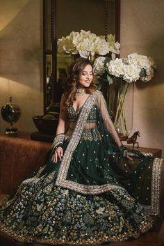 Benaisha Kharas in a bottle green Anita Dongre wedding lehenga. Indian Gowns Dresses, Indian Fashion Dresses, Indian Designer Outfits, Bridal Dresses, Fashion Outfits, Lehenga Wedding, Indian Bridal Lehenga, Indian Bridal Outfits, Wedding Hijab