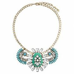 """Add a pop of style to evening ensembles and work outfits alike with this stunning gold-plated necklace, showcasing a bib of teal beading and shimmering rhinestones in a fan-inspired silhouette.   Product: NecklaceConstruction Material: Zinc alloy, resin and rhinestonesColor: Teal and goldFeatures:  Adjustable chain length adds up to 3.25"""" Fan-inspired silhouetteHandmade   Dimensions: Chain: 18.25""""Stones: 3"""" H x 5"""" WCleaning and Care: Avoid all oils and chemicals (such as lotions, hairspray…"""