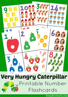 Very Hungry Caterpillar Printable Number Flashcards (great for concentration games and matching activities) - From ABCs to ACTs