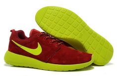 best website 6ca10 ad166 Roshe Run Suede Nike Damesschoenen Outlet Online Nederland   Rood Fluorescerend Groen  Cheap Running