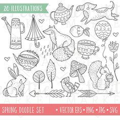 Cute Garden Animals Illustrated Clip Art Set Hand Drawn Clip