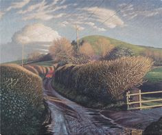 James Lynch Messages in the Landscape, The Post Van, Parrock Hill Egg tempera on gesso coated wood panel 19 x x Landscape Drawings, Landscape Art, Landscape Paintings, James Lynch, Nostalgia Art, Salisbury Cathedral, Magic Realism, Over The Hill, Tempera