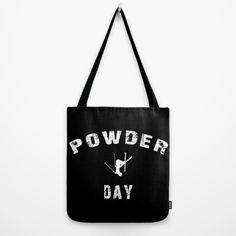 Tote Bag Powder Day black white skiing life by BACKtoBASICSbags